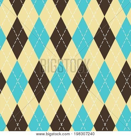 Seamless argyle pattern with chaotic golden dots. Traditional diamond check print. Vintage seamless background.