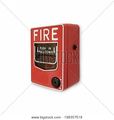 Fire Alarm Button Isolate On White Background