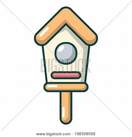 Wooden birdhouse icon. Cartoon illustration of wooden birdhouse vector icon for web design