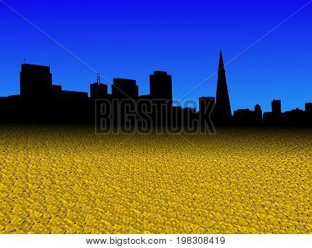 San Francisco skyline with golden dollar coins foreground 3d illustration
