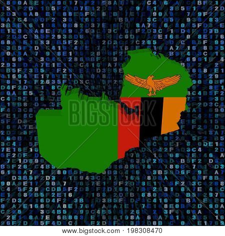 Zambia map flag on hex code 3d illustration