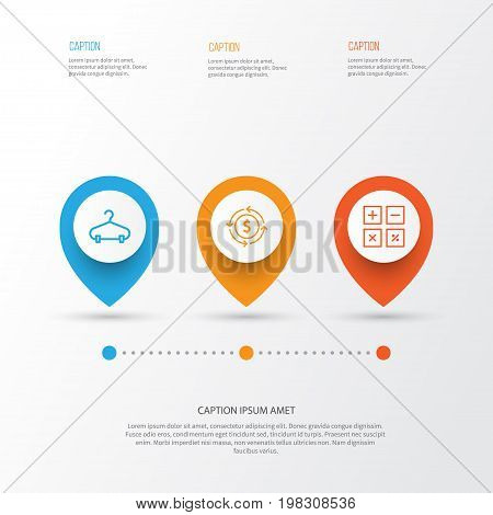 E-Commerce Icons Set. Collection Of Calculation Tool, Finance, Peg And Other Elements