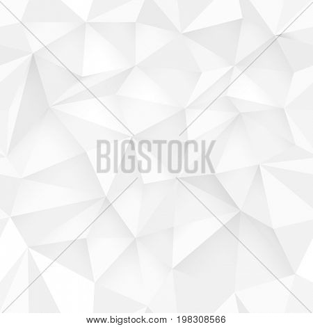 White 3D triangle pattern, seamless raster. White design texture. White Low Poly Pattern Background