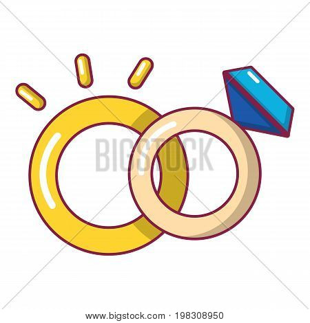 Wedding rings icon. Cartoon illustration of wedding rings vector icon for web design