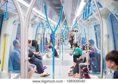 MALAYSIA - JULY 20, 2017: Passenger of The Mass Rapid Transit (MRT) train in Malaysia.