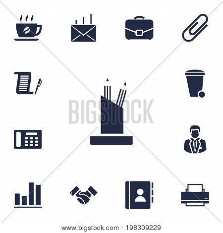 Collection Of Pencil Stand, Address Book, Telephone Elements.  Set Of 13 Work Icons Set.