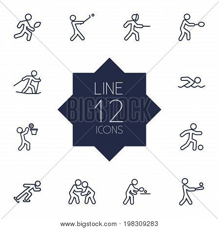 Collection Of Ski Running, American Football, Soccer And Other Elements.  Set Of 12 Athletic Outline Icons Set.
