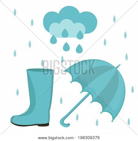 Rain set of flat or cartoon style. Autumn collection with umbrella, cloud, rubber boots. Isolated on white background. Vector illustration