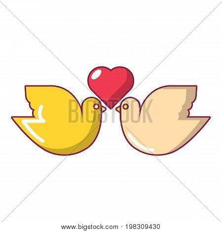 Wedding doves with heart icon. Cartoon illustration of wedding doves with heart vector icon for web design