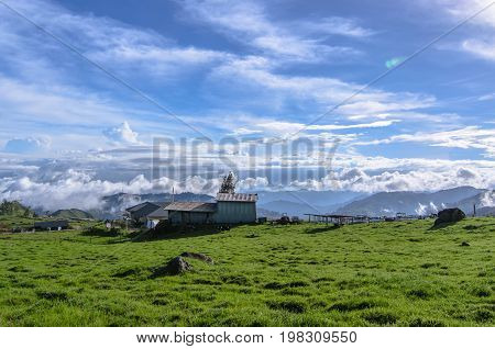 View of green grass cattle farm,highlands with village and mountain view with blue sky background at Desa Cattle Dairy Farm in Kundasang,Borneo,Malaysia.Nature view of Borneo tropical jungle.