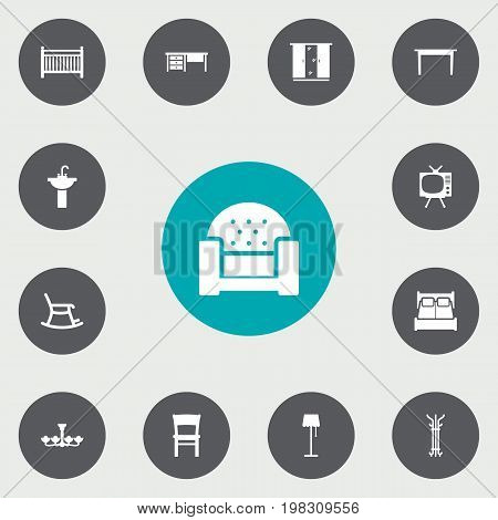 Collection Of Cot, Sofa, Desk And Other Elements.  Set Of 13 Set Icons Set.