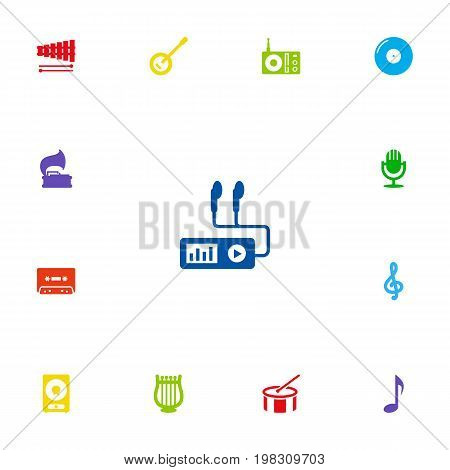 Collection Of Audio Device, Banjo, Tambourine And Other Elements.  Set Of 13 Song Icons Set.