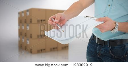 Delivery man with clipboard asking for signature against grey background