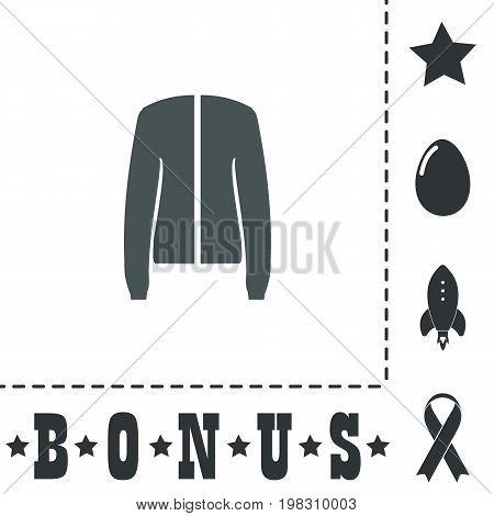 Jacket. Simple flat symbol icon on white background. Vector illustration pictogram and bonus icons