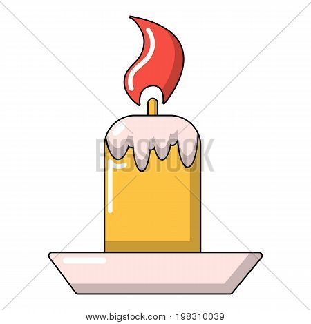 Simple candle icon. Cartoon illustration of simple candle vector icon for web design