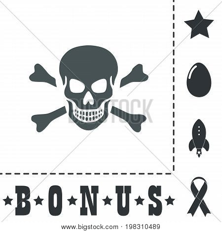 Skull and crossbones. Simple flat symbol icon on white background. Vector illustration pictogram and bonus icons