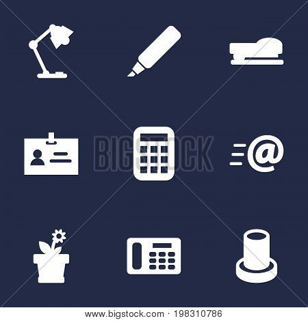 Collection Of Sew, Message, Calculate And Other Elements.  Set Of 9 Bureau Icons Set.