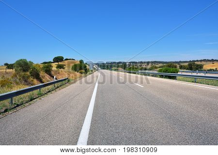 High speed toll motorway in Alentejo Portugal