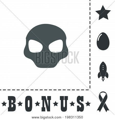Alien Head. Simple flat symbol icon on white background. Vector illustration pictogram and bonus icons