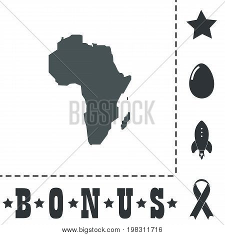 Africa Map. Simple flat symbol icon on white background. Vector illustration pictogram and bonus icons