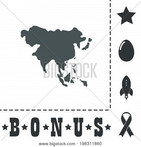 Asia map. Simple flat symbol icon on white background. Vector illustration pictogram and bonus icons