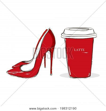 Red Shoes And A Red Glass With Coffee With Latte Inscription. Fashionable Illustration With Female A