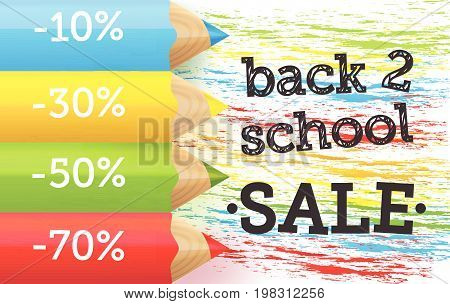 Back to school Sale banner with realistic pencils and brush stroke elements. .Sale background for school shopping with -10% -30% -50% -70% discount signs. Vector illustration.