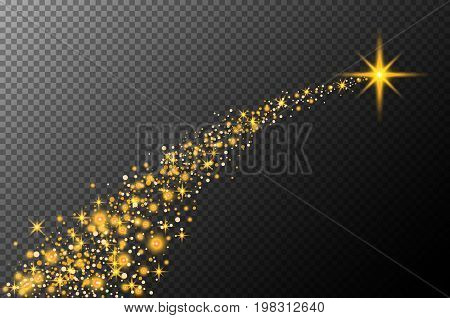 Abstract Semitransparent Vector Magic Glow Star Trail Light Effect With Neon Blur Curved Line Shoots
