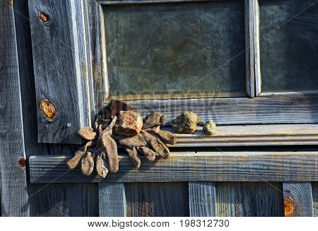 Gloves On Mining Shaft Window