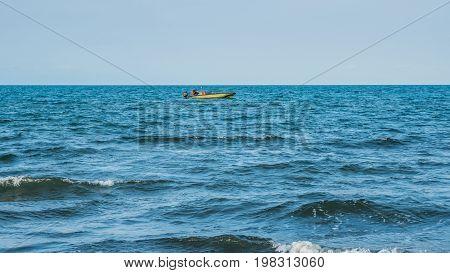 Coast Guard Motor Boat On The Black Sea, Poti, Georgia