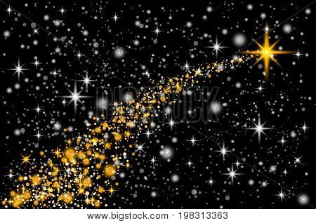 Gold Glittering Star Dust Trail Sparkling Particles On Transparent Background. Space Comet Tail. Vec
