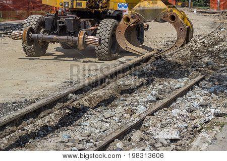 Arm And Claw Of An Excavator Resemble Tram Tracks 3