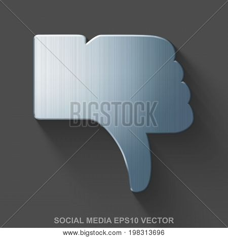 Flat metallic social network 3D icon. Polished Steel Thumb Down icon with transparent shadow on Gray background. EPS 10, vector illustration.