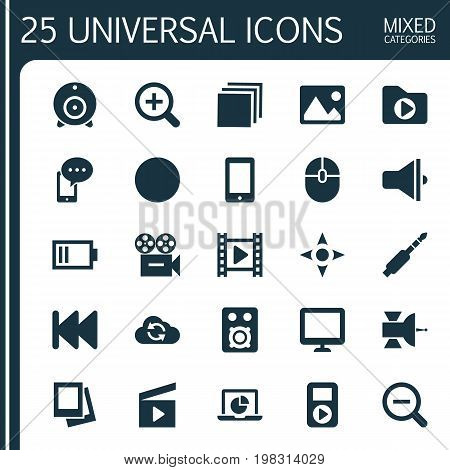 Music Icons Set. Collection Of Player, Cloud, Screen And Other Elements