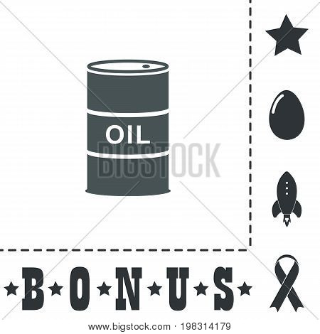 Barrels of oil. Simple flat symbol icon on white background. Vector illustration pictogram and bonus icons