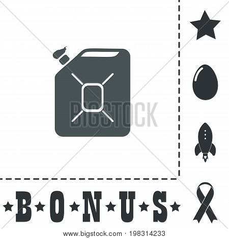 Jerrycan oil. Simple flat symbol icon on white background. Vector illustration pictogram and bonus icons