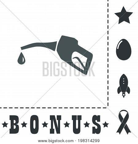 Gasoline pump nozzle. Simple flat symbol icon on white background. Vector illustration pictogram and bonus icons