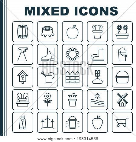 Farm Icons Set. Collection Of Hang Lamp, Rubber Boot, Watering Can And Other Elements