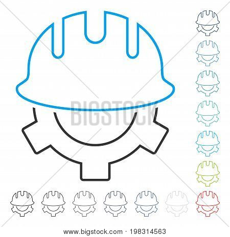 Development Helmet contour icon. Vector illustration style is a flat iconic contour symbol in some color versions.