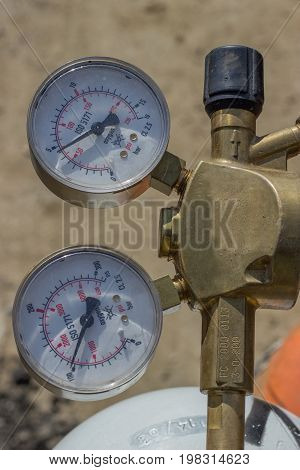 Dual Pressure Gauges Of Oxy Acetylene Tanks