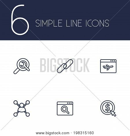 Collection Of Scan, Url, Stock Exchange And Other Elements.  Set Of 6 Search Outline Icons Set.