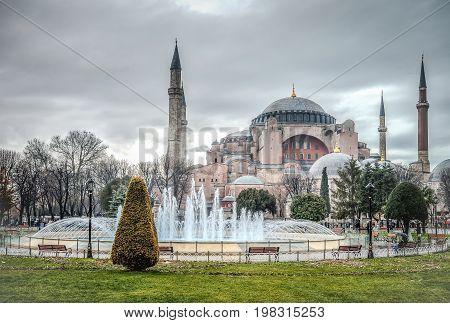 Istanbul Turkey - January 12 2013: The Blue Mosque Sultanahmet Camii Istanbul Turkey
