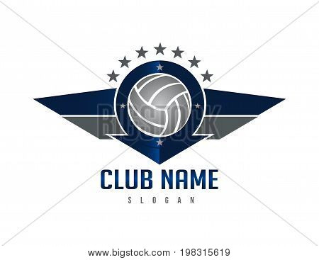 Volleyball wings shield logo on white background