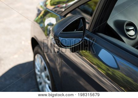Close-up of car with wing mirror