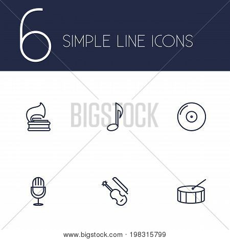 Collection Of Gramophone, Musical Sign, Amplifier And Other Elements.  Set Of 6 Melody Outline Icons Set.