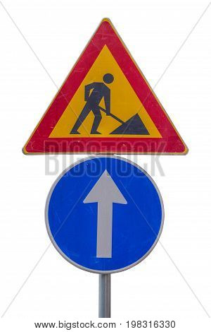 Traffic Sign For Construction Works In Street And Blue Direction