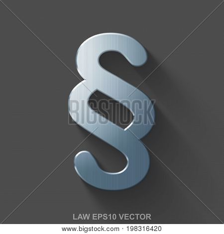 Flat metallic law 3D icon. Polished Steel Paragraph icon with transparent shadow on Gray background. EPS 10, vector illustration.