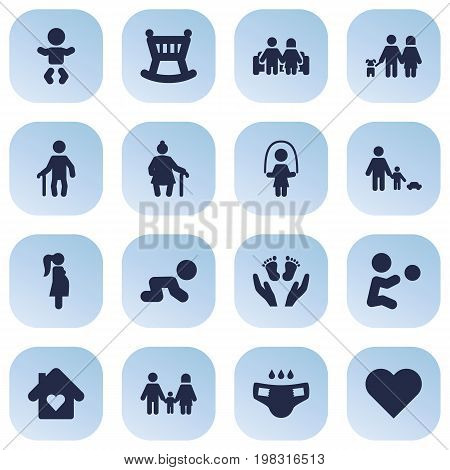Collection Of Expectant Mother, House, Married And Other Elements.  Set Of 16 People Icons Set.