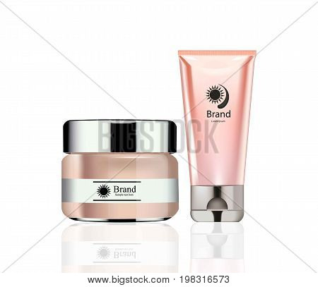 Vector realistic Cosmetics set package. Hydration cream, foundation and lotion. Perfect for advertising, flyer, banner, poster. 3d illustrations