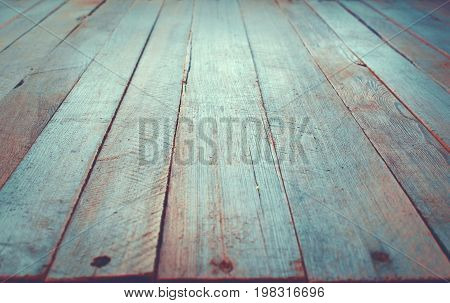 Wooden Board Surface In Perspective Vintage Style